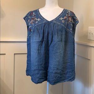 Sleeveless jean blouse